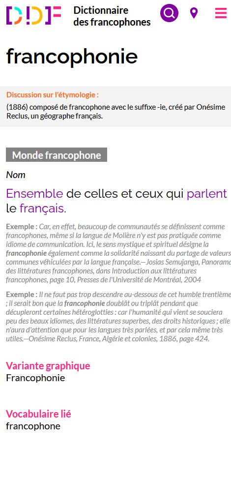 Capture d'écran de l'entrée francophonie du Dictionnaire des francophones